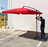 New $60 Red color 8'x8' ft Square Offset Patio Outdoor Hanging Umbrella with Crank lift South El Monte