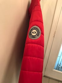 Armani exchange red motor jacket