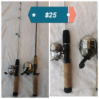 two brown-and-black fishing rods collage