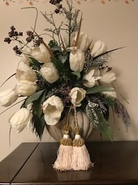 Happy Holiday charming centerpiece tulip bouquet.