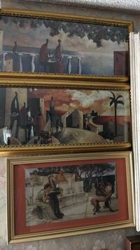 three assorted painting with yellow wooden frames Daly City, 94015