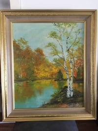 Bright colorful original oil painting Impression of Lake