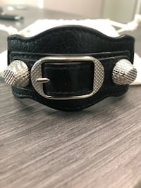 Balenciaga Women's Black Leather Arena Giant Bracelet Designer