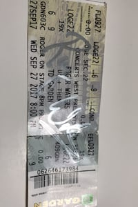 Roger waters autographed ticket