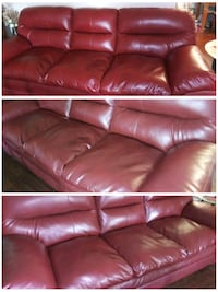Ashley Red Bonded Leather Couch Yukon, 73099