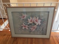 Pink flowers paintng with brown wooden frame 194 mi