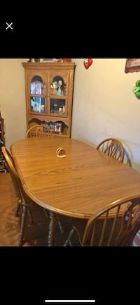 oval brown wooden dining table with chairs set Lincolnshire, 60069