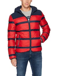 NEW Tommy Hilfiger Denim Men's Puffer Jacket with Stripes SzXL 548 km