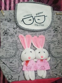 two white-and-pink bunnies dolls back pack  Mississauga, L5B 3R2