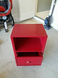 red wooden 2-layer nightstand