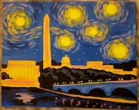 "Original art 16""x 20"" ""Starry Night"" theme of DC memorials null"