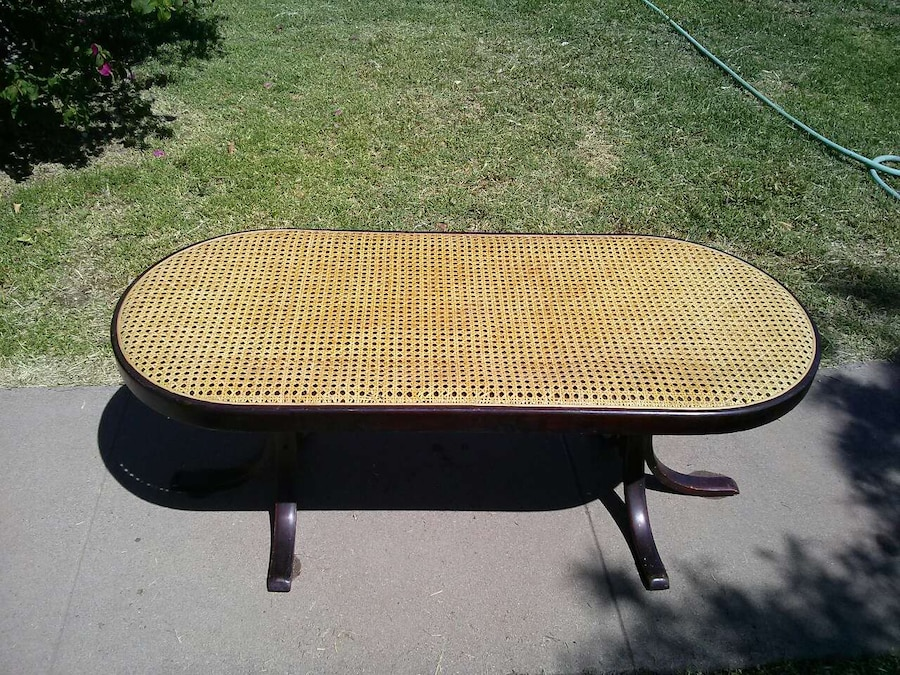 Vintage Bentwood Cane Coffee Table With Glass Top