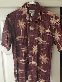 men's maroon and white coconut tree prints button-up shirt Visalia, 93291
