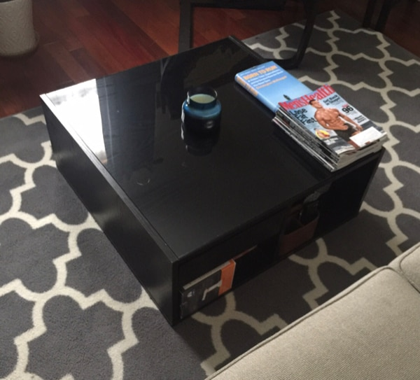 Black glass top coffee table 1