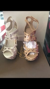pair of brown studded open toe ankle strap heels
