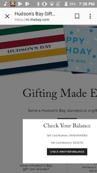 Home Outfitters and the bay gift card Vancouver