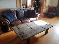Vintage Distressed Coffee Table w/ Rustic Primitive Hardware Arbutus