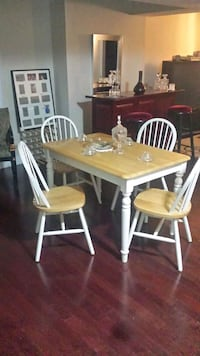 rectangular white and brown wooden dining table set Toronto, M5E 1A6