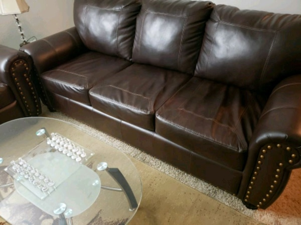 Cherry brown leather sofas (2piece) $575