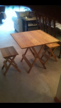 square brown wooden folding table with two chairs setr Goshen, 10924