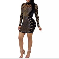 women's black and gold long-sleeved bodycon mini dress 2220 mi