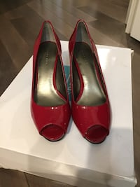 Pair of red leather peep toe pumps Mississauga, L5J 0A3