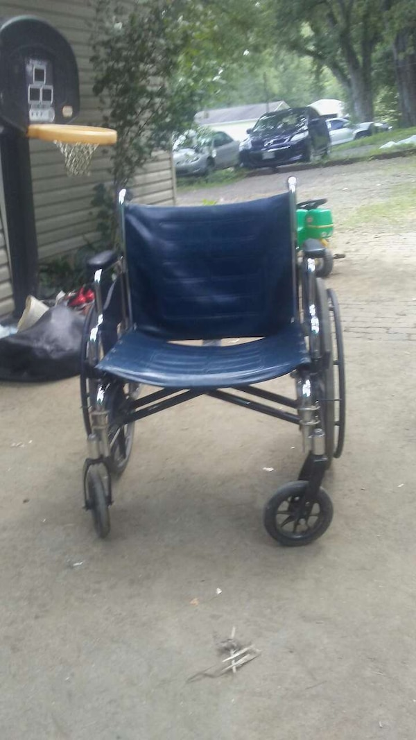 blue and grey wheelchair