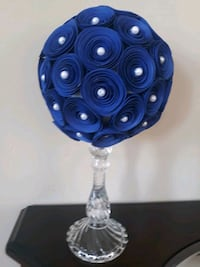Medium royal blue and white pearls topiary