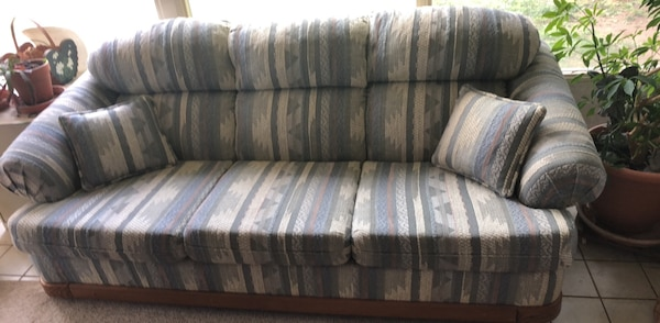 Astounding Blue Brown White Striped Couch Creativecarmelina Interior Chair Design Creativecarmelinacom