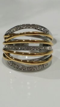 silver and gold diamond CZ Crystals ring  Silver Spring, 20904