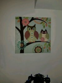 two white and gray owl in tree painting