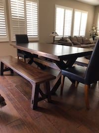 Solid Wood Table and Benches Oxnard