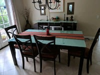 rectangular brown wooden table with six chairs dining set 2281 mi