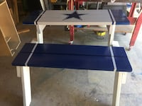 Blue and white Cowboy logo wooden table/ bench. Laredo, 78045