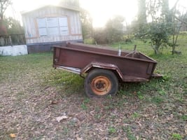 Old military truck bed trailer