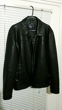 Men's Black leather zip-up jacket Frisco, 75034
