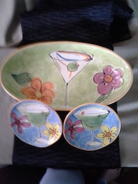 NEW - GREAT HOSTESS GIFT *3 pc SET JULIA JUNKIN  Large Oval Bowl & 2 Small Plates - CERTIFIED INTERNATIONAL