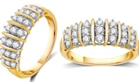 1/2 CTTW Genuine Diamond Fashion Band in Gold Plating over Sterling Silver Boston, 02135