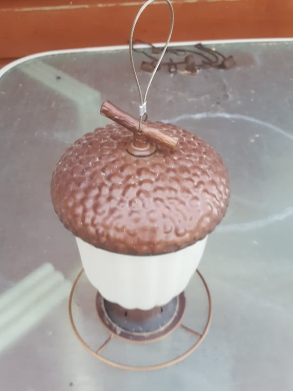 Metal and Frosted Glass Acorn Finch Feeder 0af6a0aa-1cb2-4561-941d-07f2418577af