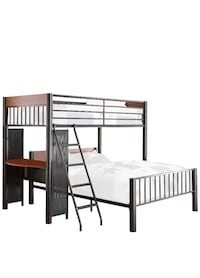 Metal twin/full loft bed with desk