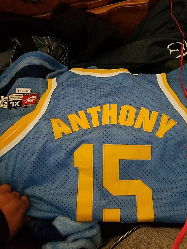 new products 9b2cf 7a769 blue and yellow Nike Denver Nuggets Carmelo Anthony 15 jersey shirt