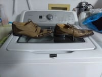 pair of brown leather dress shoes and white top-load clothes washer Ocala, 34473