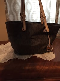 Brown monogram michael kors leather shoulder bag