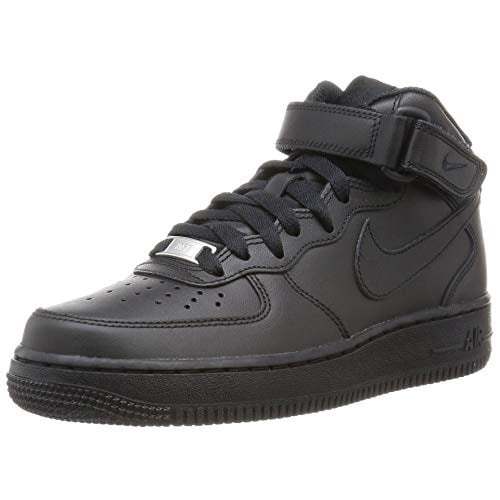 All black air forces high tops