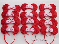 12 Minnie Mouse Red Shimmer Ears Headband Mickey Downey