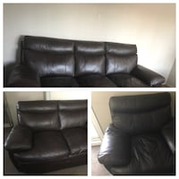 No scratch and Brand new brown leather 3/2 seat couches and armchair in Edmonton Calgary, T1Y 6B8