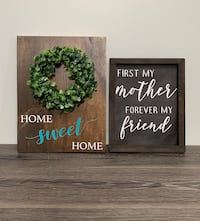 Signs and floral wreath