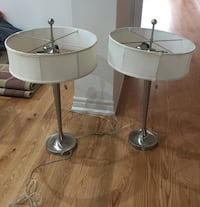 two stainless steel base white padded bar stools Brampton, L7A