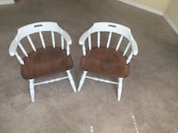 Two white-and-brown wooden chairs Ruskin
