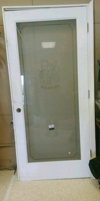 white wooden frame clear glass door